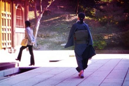 In kimono at the temple